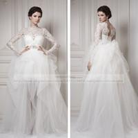 Skirting - Ersa Atelier Vintage Wedding Dresses Lace Long Sleeve Bateau Neckline Deep V Back Beaded Waistline Ruched Tulle Skirt Sheer Bridal Gowns