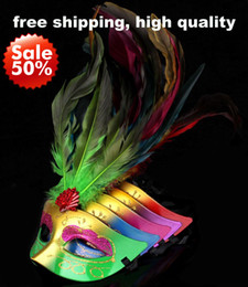 Long Feather Masks Carnival Venetian Masquerade Party Mask Mardi Gras Costume Halloween Mask Sexy Dance Prop Mix Color On Sale