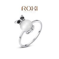 Cheap ROXI Brand Free Shipping Gift Platinum Plated Statement Wintersweet Wedding Opal Ring Fashion Jewelry