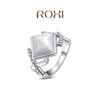 Cheap ROXI 2014 Free Shipping Gift Platinum Plated Romantic Rhombus Opal Ring Statement Rings Fashion Jewelry For Women Party Wedding