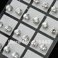 zirconia stud earrings - Fashion mm Clear Austria Cubic Zirconia Stainless Steel Stud Earrings for Womens Mens Jewelry A