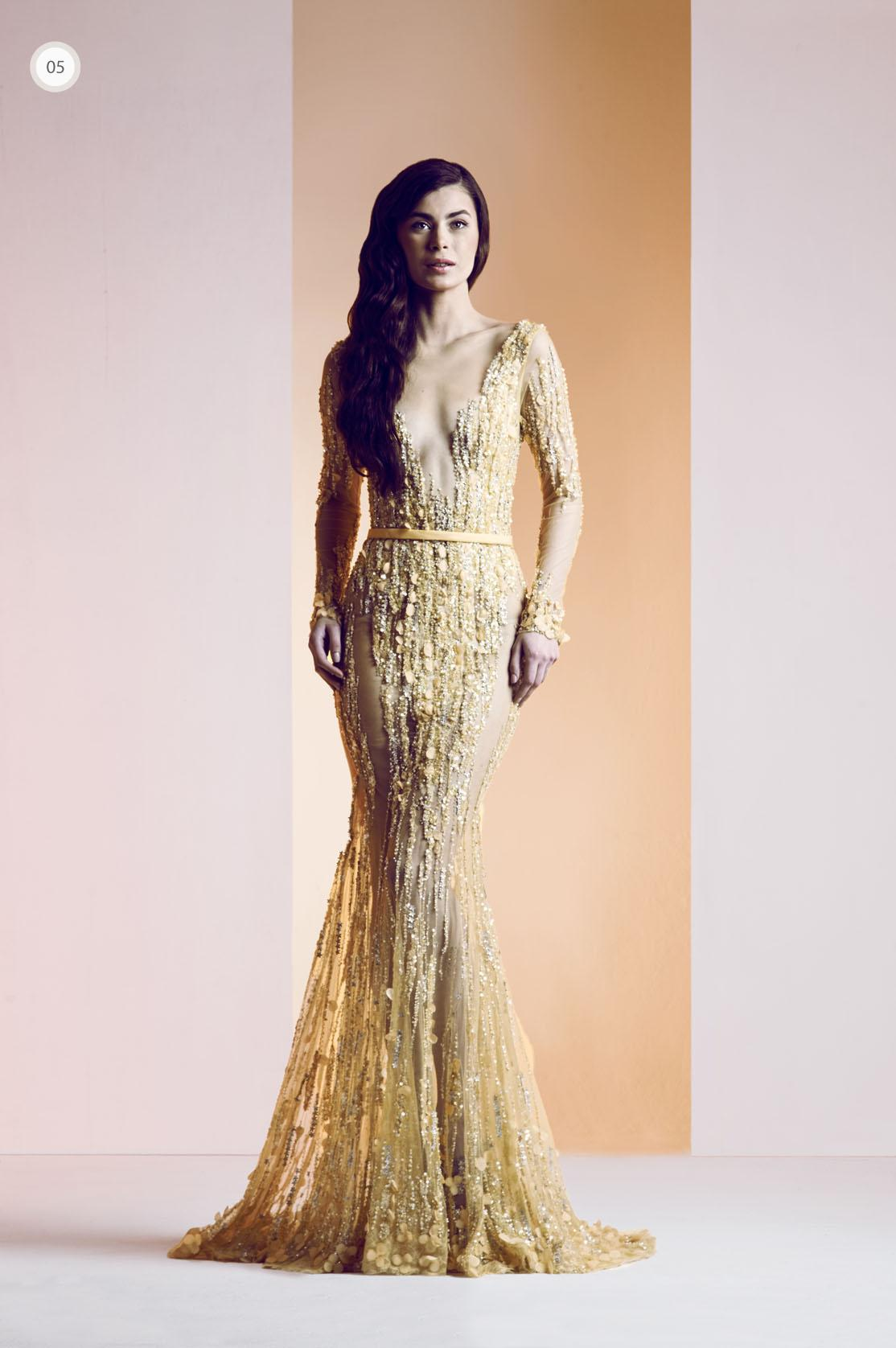 Ziad Nakad 2014 Sexy Evening Gowns Mermaid V-Neck Yellow Tulle ...
