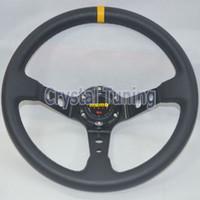 Wholesale 14 quot MOMO PVC Steering Wheel Deep Dish Black Frame mm MOMO Steering Wheel PVC Leather Drifting Racing Rally Car Steering Wheel PVC