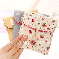 Cheap Idyllic natural cotton fabric Floral sanitary napkin package, paper towels, bags, sanitary napkin pouch+ Storage Bags