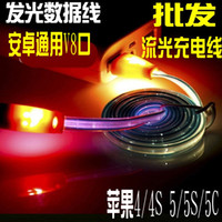 Wholesale Luminous smiley usb data cable for for SAMSUNG intelligent luminous general v8 noodles streamer charge line