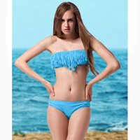 Cheap BOHO Women's Fringe Bikini Swimwear Solid & Ombre Fringe Strap Halter Padded Girl Lady Swimming Swimsuit bathing Suit Top & Bottom 2 pieces