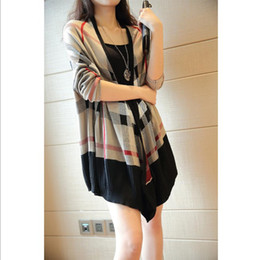 Wholesale Autumn winter new long sleeve high quality long sweater cardigan woman outerwear handsome plaid knitwear coats Basic Jacket