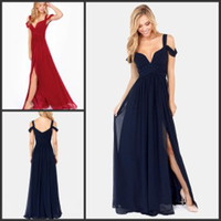 Wholesale Retro Style Long Evening Gowns Deep Sweetheart Neckline Floor Length Royal Blue Wind Red Chiffon Side Slit Evening Maxi Prom Dresses