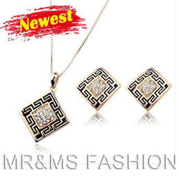 Wholesale Factory Firstling hot sales newest arrival kgp necklace earrings tetragonum shape rhinestone for best gift jewelry set YK0015