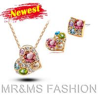 achat en gros de ventes en gros ensembles de bijoux-usine de bijoux en gros 18KGP collier en cristal autrichien de coeur + boucles d'oreilles de mode féminine meilleurs ensembles de bijoux de marque de cadeau pour noël 5319