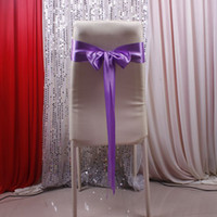 Wholesale 2014 High quality Colorful Cheap Hot sale Wedding Events Party Ribbons Buckles Purple Satin Chair Covers Sash Satin Bow