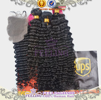 Cheap Free Shipping Malaysian kinky curly virgin hair with lace closure 4x4 bleached knots 100% queen hair products with closure bundle