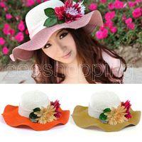 Wholesale S246 New Arrive Beautiful Knitting Wavy Brim Hat Women Large Flower Sun Hat Beach Hat Fashion Hat