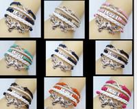 america leather bangle - New European America Fashion Love Kiss Brids Infinity Knitted Leather Weave Bangle Hand Catenary Bracelets Hand Chain Infinity Bracelets
