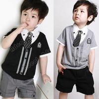 Cheap Children baby boy short clothes suits set kids gentleman summer shirt T-shirt+ pants +tie sets suit 20085