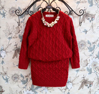 Wholesale 2014 New Winter Girls Knitted Sweaters Dress Suit Childs Long Sleeve Pullover Sweater Half Fit Skirt Set Korean Fashion Style M0775