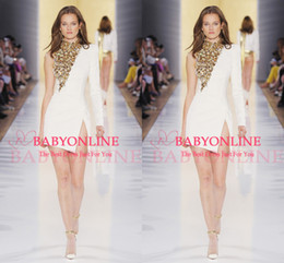 Wholesale 2014 Runway Long Sleeve High Neck Sheer Backless Party Dresses Sheath One Shoulder White Satin Gold Sequins Short Prom Gown BO6386