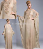 Cheap 2014 New Arrival Famous Design Kaftan Dubai Fancy Farasha Abaya jalabiya Islamic Long Sleeve Prom Gowns Evening Dresses