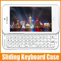 Wholesale Mini Thin Slider QWERTY Wireless Bluetooth Keyboard Sliding Stand Case for iPhone S Built in battery with Retail box