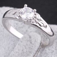 Wholesale Engagement Princess White Topaz Ring k white Yellow gold filled lady ring DH04