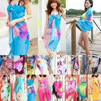 Wholesale Sexy Open Wrap Summer Chiffon Swimwear Bikini Cover Up Sarong Beach Dress Pareo nx120