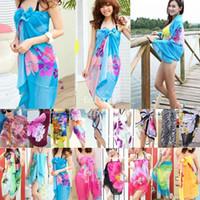 beach sarong - Sexy Open Wrap Summer Chiffon Swimwear Bikini Cover Up Sarong Beach Dress Pareo nx120