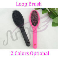 Wholesale Professional Anti Static Plastic Loop Pin Cushion Brushes Static Free For Hair Extension Wig Care styling tools Pink Black Optional