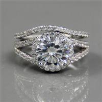 Wholesale 2ct Round Halo Diamond Wedding Bridal Set Engagement Ring Lonze Brand Lab Created Diamond Silver Plated K Gold Ring Wedding Set