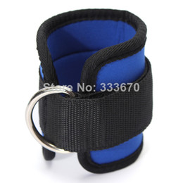 Wholesale Black Blue Ankle Anchor Strap D ring Multi Gym Cable Attachment Thigh Leg Pulley Strap Lifting Fitness Exercise Tubing Strength