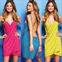 Wholesale Women Pure Cotton Dressy Women s Bohemia Suspenders Deep V neck Dresses High Quality Ladies Beach Dress Clothing colors M0776
