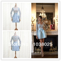 Wholesale 2014 New Arrival Zuhair Murad dresses Light sky blue Short Cocktail dresses with lace long sleeves Best quality Party Dresses