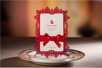 Cheap wishmade cw062 red bow Invitation Wedding Invitations come envelopes sealed card 50pcs lot