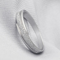 bezel material - Silver Ring Frosted Surface Genuine S925 Sterling Silver Material Layer Platinum Plated OR11