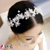 Cheap New 2014 bride hair accessories hairpins wedding dress tiara crystal pearl beads wedding hair flower stick clip fashion jewelry