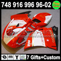 7gifts Red white For DUCATI 748 916 996 998 96- 02 748S 96 97...