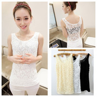 Cheap 2014 Spring summer lady hollow carved full lace vest women sexy bottoming sling solid color Camisole free shipping YF9514