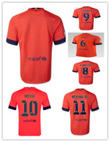 Wholesale Thailand Quality Season Spain Barcelona Away Orange Soccer Uniform Football Jerseys SUAREZ MESSI NEYMAR JR A Iniesta Xavi