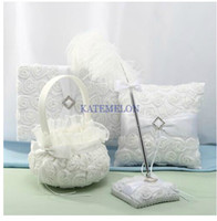 Wholesale Unique wedding favors white roses feather design Guestbook Pen Set Ring Pillow Flower Basket for fast ship