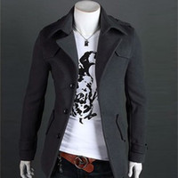 Wholesale New men in the fall and winter fur coat Cultivate one s morality men s windbreaker Brief paragraph single breasted coat Men s jacket