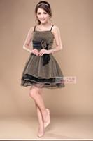 Cheap Hot sell korean version of a short section of gold organza bow dress birthday party dress evening dress moderator dress