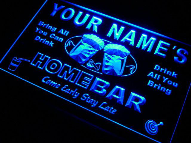 p-tm Nom personnalisé Custom Home Bar Beer LED Neon Sign Livraison gratuite Drop