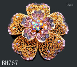 Wholesale hot sell Gold plated Zinc alloy rhinestone wedding flowers Brooches jewelry Free shipping 12pcs lot mixed color BH767