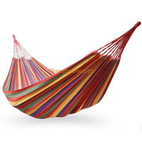 Cheap Portable Travel Outdoor Camping Tourism Cotton Rope Swing Fabric Stripes Single Leisure Folding Hammock Canvas Bed Free shipping