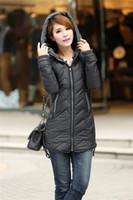 Wholesale New Korean Women Slim thin cotton women s fashion long feather padded jacket coat W6601