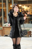 Wholesale Women s winter warm coat jacket Korean version of the new Women long sections Slim Hooded jacket with fur S713