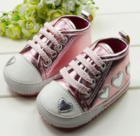 crib shoes - 2014 Cute Kid Toddler Baby Girl Silver Crib Heart Soft Shoes Walking Sneaker M Drop shipping