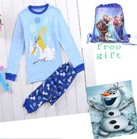 t-shirt bags - 9 off frozen Olaf Tracksuit suit boys long sleeved T shirt trousers free drawstring bags DROP SHIPPING hot sale KB