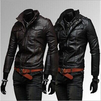 Wholesale Hot Sales Autum and winter men s jackets new regular coats of Faux Leather fashion zipper Men s Clothing