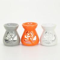 Wholesale Color Rose Candle Incense Censer Ceramic Aroma Oil Burner Home Fragrance Lamps Party Decoration SK123