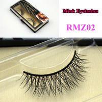 Wholesale RMZ02 long thick crossing natural mink lashes Real false mink fur Siberian strip eyelashes extensions